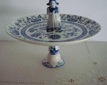 Handmade Dutch GIRL Serving PLATE STAND with Blue & White Delft Motif: Vintage Serving Plate, Horesdoerve Pedestal