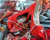 SALE!!! Swarovski Crystal Glitter Red Indian asian Bridal High Heel Stiletto Corset Luxury Peeptoe Platform satin Pump - LAST ONE!!!
