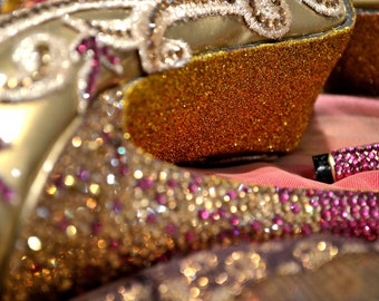 Custom Swarovski Crystal Indian Bridal Wedding Platform peeptoe Heel Pink metallic Gold glitter sole Lace Pump