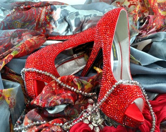 Swarovski Crystal Glitter Red Indian asian Bridal High Heel Stiletto Corset Luxury Peeptoe Platform satin Pump