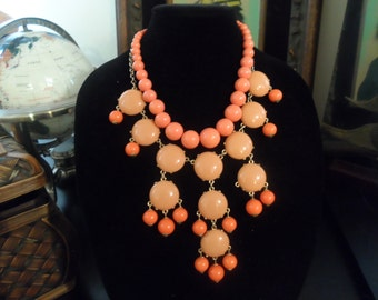 St Tropez style Peach Pastel Orange Statement Necklace Beads and baubles