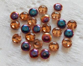 25  Copper Crystal Blue Volcano Flat Disc Czech Glass Beads  6.5mm