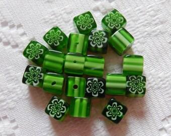 22  Shamrock Green & White Flower Millefiori Square Cube Lampwork Glass Beads  8mm