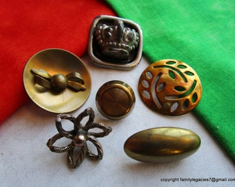 0056 – SIX Unusual Brass Antique Buttons Including Bow Escutcheon, Crown, Flower