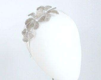 Beaded bridal headpiece, Bridal headband. Bridesmaids hair accessory, with beaded flowers. Sparkly headpiece wedding fascinator