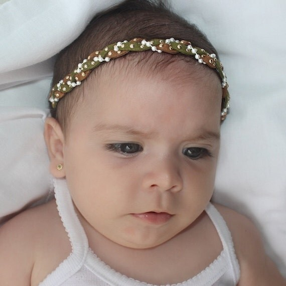 Baby Girl Green Headband, Braided Headband, Infant Headband, Green Headband, Suede Headband, Brown Headband, Infant Headband, Pearl Headband