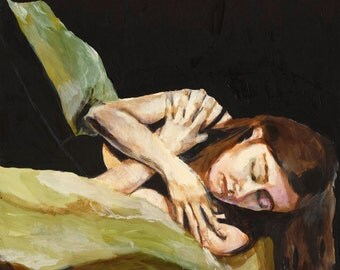 Large Art Print - Eyes Closed, Arms Crossed, Figure Painting, Large Wall Art, Giclee Art Print