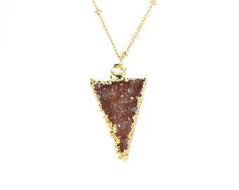 Triangle necklace - druzy necklace - raw crystal necklace - arrowhead necklace - a gold lined druzy spike on 14k gold filled satellite chain