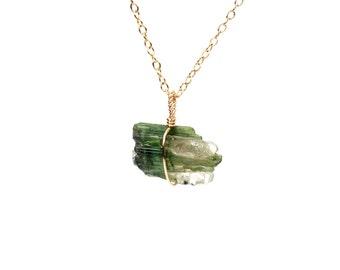 Raw tourmaline necklace - watermelon tourmaline necklace - crystal necklace - a natural tourmaline wire wrapped onto a gold vermeil chain
