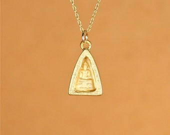 Buddha necklace - yoga necklace - meditation necklace - zen - a gold vermeil buddha on a 14k gold vermeil chain
