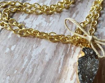 Arrowhead - Smokey Quartz - Raw Crystal - Gold Necklace - Boho Jewelry - Hippie Jewelry - Hipster Jewelry