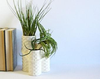 Vintage White Ceramic Vase - 3 Tier Planter - Made in Japan Pottery - White Home Decor - White Vase - White Planter Pot - White Wicker Weave