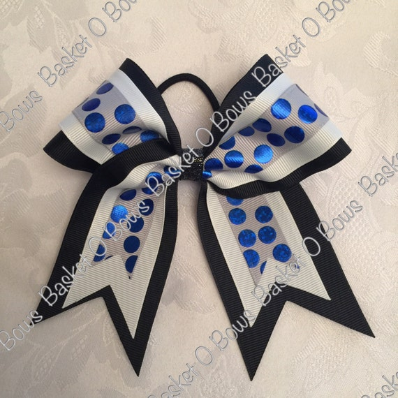 small grey and royal blue holographic silly dot hair bow. Black Bedroom Furniture Sets. Home Design Ideas
