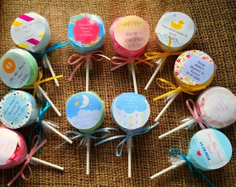 Personalized Baby Shower Favors - Lollipop Washcloth Favors - New Baby Gift - Set of 5