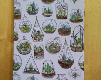 Terrarium Recycled A5 Illustrated Notebook
