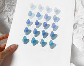 """Original watercolor painting/Abstract Painting/Blue Abstract Art/Minimal Art/Geometrical Art/""""Blue Harmony"""""""