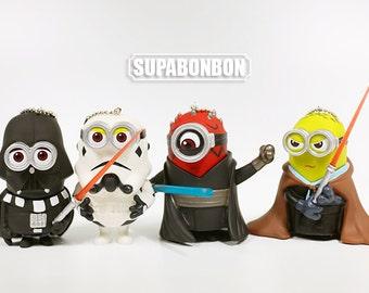 One Set 4 Pcs / Decoden / PVC / Minions Star Wars / Dark Warrior / Stormtrooper / Darth Vader / Figurine / Dollhouse / 8cm / JP599
