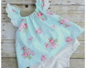 Baby Floral Peasant Dress - Girls First Birthday Outfit with Bloomers - Baby Photo Outfit - Special Occasion Dress - Baby shower Gift