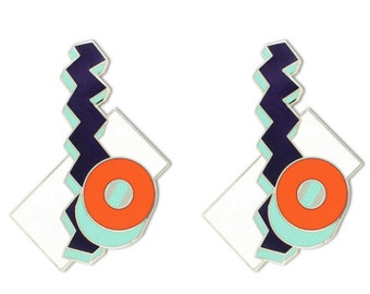 Memphis Designers for Acme cometa Earrings Done in Cloisonne