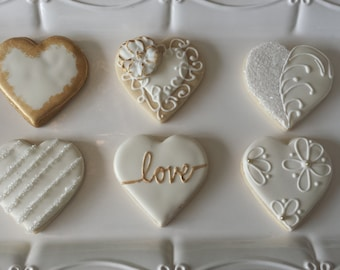 Wedding Sugar Cookies, Engagement Party Cookies, Anniversary Sugar Cookies, Love Cookies, Heart Cookies
