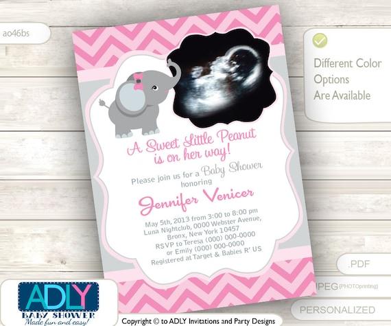 Pink grey elephant ultrasound photo baby shower invitation for girl il570xn filmwisefo