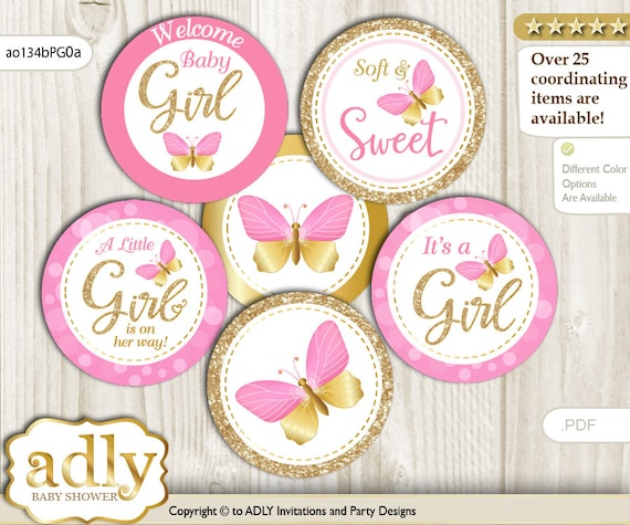 Butterfly Cake Toppers Baby Shower : Girl Butterfly Cupcake Toppers for Baby Shower Printable ...