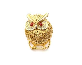 Owl Brooch, Owl Pin, Rhinestone Brooch, Rhinestone Pin, Figural Brooch, Vintage Brooches, Gold Brooch