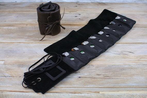 Straight-8 leather harmonica case, harp case, leather mouth organ holder, blues harp case, harmonica gift