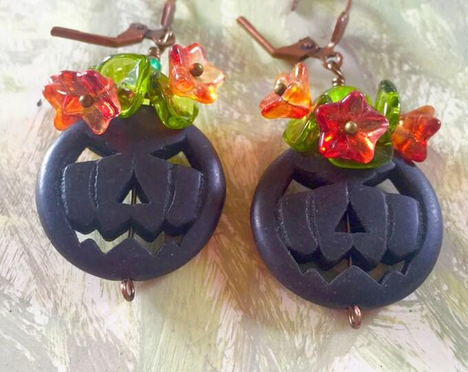 Black Jack o lantern earrings, jack o lantern, halloween earrings, pumkin earrings , fall,Thanksgiving , autumn