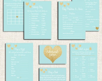 Blue Baby Shower Games Printable Party Package Choose ANY 5 Items, Boy Baby Shower Games, PDF, Gold Baby Shower Games, boy baby shower games