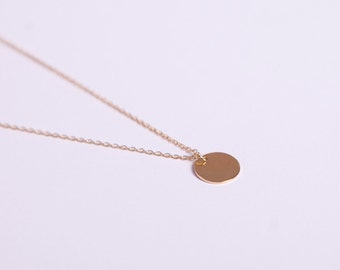 Gold Plated Necklace Disc Gold Ring Circle Coin Golden Necklace