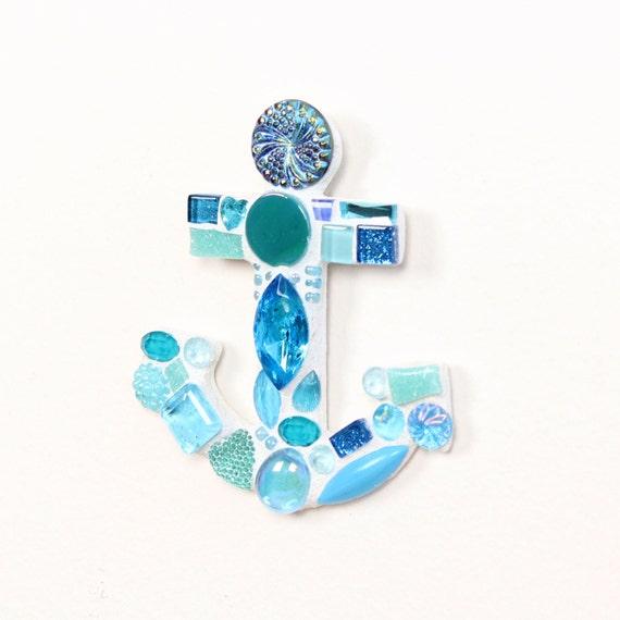 Blue Anchor Wall Decor : Mosaic blue anchor wall decor beach themed by