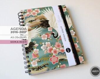 Agenda A5 - 2016-2017 - Japanese crane green - 15x21cm