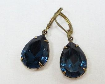 LAST PAIR Montana Blue Earrings Dangles Vintage Swarovski Jewels Navy Blue Estate Style Hollywood Glamour