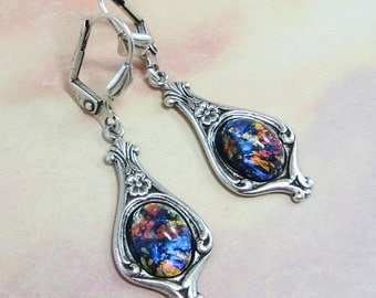 Black Opal Earrings Dangles Black Fire Opal Jewelry Fantasy Mystical