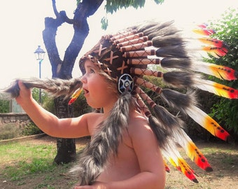 N11- From 2-5 years Kid / Child's: 3 colors Indian Headdress 20,5 inch. – 52 cm