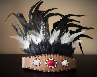 Indian Style headband with black  fur and white and black feathers