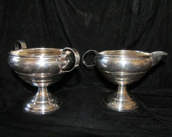 Vintage Hamilton Sterling Silver Weighted Creamer & Open Sugar Bowl