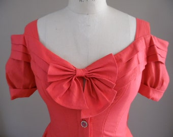 Vintage 1980s Redux 1950s Romantic Red Crinkled Cotton Dress with Dropped Basque Waistline by Karen Alexander