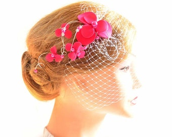 Fuchsia birdcage veil headband Pink birdcage veil Bridal veil fascinator Bridal headpiece Head piece  Flower headpiece