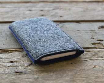 iPhone Sleeve / iPhone Cover / iPhone Case in Mottled Dark Grey and Royal Blue 100% Wool Felt