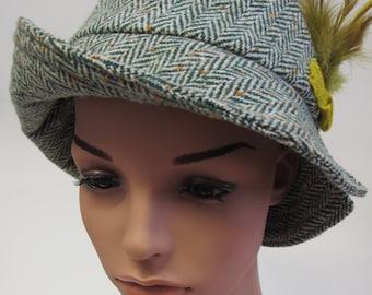 Green Herringbone Tweed Hat