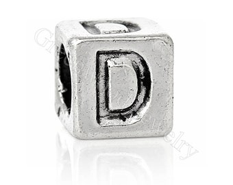 """Letter """"D"""" Block Style-European Charm Bead For All Large Hole Charm Bracelet And Necklace Chain. 7x7mm"""