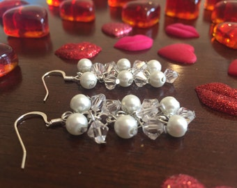 White Pearl and Bicone Earring Set!