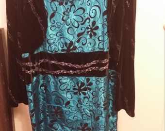 Teal dress with crushed velvet designs and crushed velvet jacket