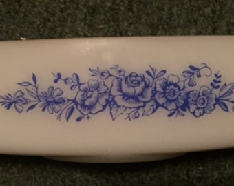 Federal Glass Blue Roses loaf pan