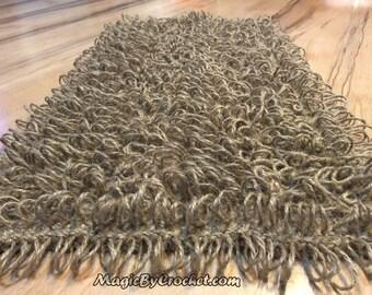 Welcome Mat, Shaggy Doormat, Crochet Door Mat, Jute rope Door Rug, Handmade, no.010