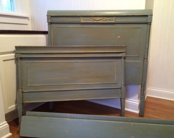 Vintage Twin Bed Frame Duck Egg Blue Painted Twin Bed Bedroom Furniture Home Decor