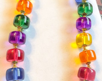 Vintage colorful chunky lucite bead choker, vintage bead necklace, chunky beads, vintage necklace, vintage jewelry, chunky bead jewelry