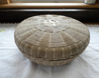 Asian Bamboo Sewing Basket Large Round Vintage Lidded Storage